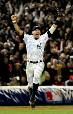 NEW YORK - NOVEMBER 04:  Alex Rodriguez #13 of the New York Yankees celebrates after their 7-3 win against the Philadelphia Phillies in Game Six of the 2009 MLB World Series at Yankee Stadium on November 4, 2009 in the Bronx borough of New York City.  (Ph