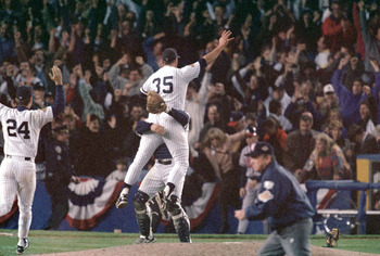 BRONX, NY - OCTOBER 26:  John Wetteland #35 of the New York Yankees celebrates the final out of Game six of the 1996 World Series against the Atlanta Braves at Yankee Stadium on October 26, 1996 in Bronx, New York. The Yankees defeated the Braves 3-2 to w