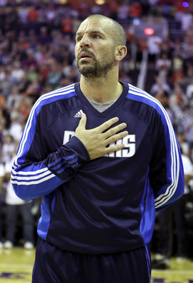 PHOENIX, AZ - MARCH 27:  Jason Kidd #2 of the Dallas Mavericks before the NBA game against the Phoenix Suns at US Airways Center on March 27, 2011 in Phoenix, Arizona.  The Mavericks defeated the Suns 91-83. NOTE TO USER: User expressly acknowledges and a