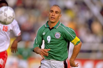 7 Feb 2000:  Hossam Hassan of Egypt in action during the African Nations Cup match against Tunisia in Kano, Nigeria.  Tunisia won the match 1-0. \ Mandatory Credit: Ben Radford /Allsport