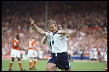 18 Jun 1996:  Alan Shearer of England celebrates his second and England's third goal against Holland in the Group A match at Wembley during the European Football Championships. England beat Holland 4-1.