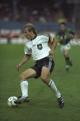 20 Aug 1997:  Jurgen Klinsmann of Germany in action during the World Cup Qualifier against Northern Ireland at Windsor Park in Belfast, Northern Ireland. Germany won the match 1-3. \ Mandatory Credit: Gary M Prior/Allsport