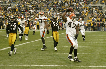 Shown celebrating a touchdown, Vickers has scored all of his career touchdowns against the Pittsburgh Steelers.