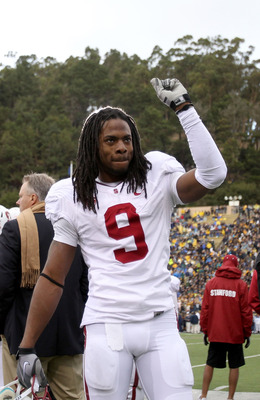 BERKELEY, CA - NOVEMBER 20:  Richard Sherman #9 of the Stanford Cardinal celebrates after beating the California Golden Bears at California Memorial Stadium on November 20, 2010 in Berkeley, California.  (Photo by Ezra Shaw/Getty Images)