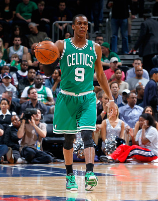 ATLANTA, GA - APRIL 01:  Rajon Rondo #9 of the Boston Celtics against the Atlanta Hawks at Philips Arena on April 1, 2011 in Atlanta, Georgia.  NOTE TO USER: User expressly acknowledges and agrees that, by downloading and/or using this Photograph, user is