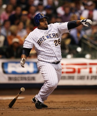 MILWAUKEE - SEPTEMBER 28: Prince Fielder #28 of the Milwaukee Brewers starts to run on a ground-out against the San Diego Padres on September 28, 2007 at Miller Park in Milwaukee, Wisconsin. The Padres defeated the Brewers 6-3. (Photo by Jonathan Daniel/G