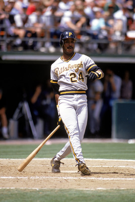 SAN DIEGO - 1990:  Barry Bonds #24 of the Pittsburgh Pirates follows through on his swing during a game against the San Diego Padres in 1990 at Jack Murphy Stadium in San Diego, California.  (Photo by Stephen Dunn/Getty Images)