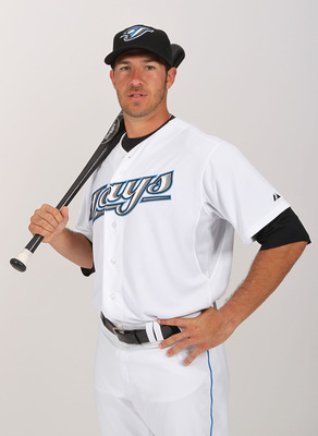 DUNEDIN, FL - FEBRUARY 20:  J.P. Arencibia #9 of the Toronto Blue Jays poses during photo day at Florida Auto Exchange Stadium on February 20, 2011 in Dunedin, Florida.  (Photo by Nick Laham/Getty Images)