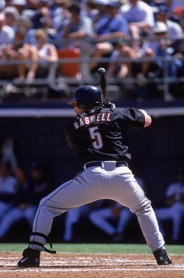 16 Apr 2000: Jeff Bagwell #5 of the Houston Astros stands ready at bat during a game against the San Diego Padres at the Qualcomm Stadium in San Diego, California. The Padres defeated the Astros 13-3. Mandatory Credit: Stephen Dunn  /Allsport