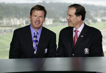 Jim Nantz (right) is well informed and makes good transitions through several story lines. Faldo's insight into course management is usually spot on.