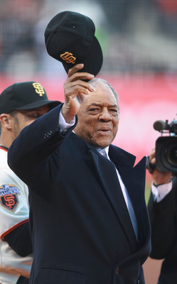 SAN FRANCISCO, CA - APRIL 09:  Former Gmember of the San Francisco Giants Willie Mays waves to the crowd before recieving his World Series against the St. Louis Cardinals  at AT&T Park on April 9, 2011 in San Francisco, California.  (Photo by Jed Jacobsoh