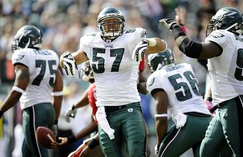 PHILADELPHIA - OCTOBER 11:  Chris Gocong #57 of the Philadelphia Eagles reacts during a game against the Tampa Bay Buccaneers at Lincoln Financial Field on October 11, 2009 in Philadelphia, Pennsylvania.  (Photo by Jeff Zelevansky/Getty Images)