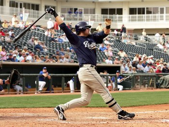 SURPRISE, AZ - MARCH 6:  Ryan Klesko #30 of the San Diego Padres bats against the Kansas City Royals in preseason action March 6, 2006 at Surprise Stadium in Surprise, Arizona. The Padres won 8-3.  (Photo by Stephen Dunn /Getty Images)