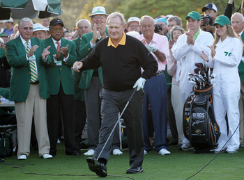 AUGUSTA, GA - APRIL 08:  Honorary starter Jack Nicklaus reacts after hitting his tee shot on the first hole as Arnold Palmer looks on during the first round of the 2010 Masters Tournament at Augusta National Golf Club on April 8, 2010 in Augusta, Georgia.