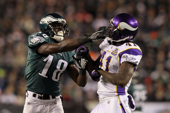 PHILADELPHIA, PA - DECEMBER 28:  Jeremy Maclin #18 of the Philadelphia Eagles gets in the face of Frank Walker #41 of the Minnesota Vikings at Lincoln Financial Field on December 28, 2010 in Philadelphia, Pennsylvania.  (Photo by Jim McIsaac/Getty Images)