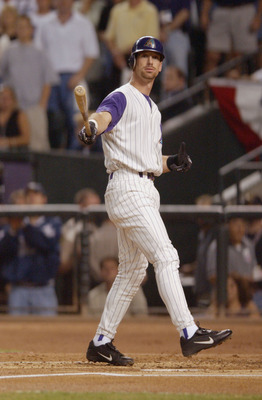 4 Nov 2001: Luis Gonzalez #20 of the Arizona Diamondbacks strikes out during game seven of the Major League Baseball World Series at Bank One Ballpark in Phoenix, Arizona. The Diamondbacks won 3-2 to capture the World Series title. DIGITAL IMAGE. Mandator
