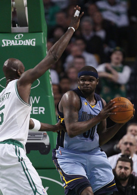 BOSTON, MA - MARCH 23:  Zach Randolph #50 of the Memphis Grizzlies looks to pass around Kevin Garnett #5 of the Boston Celtics on March 23, 2011 at the TD Garden in Boston, Massachusetts.  The Memphis Grizzlies defeated the Boston Celtics 90-87. NOTE TO U