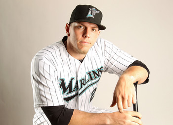 JUPITER, FL - FEBRUARY 23: Logan Morrison #20 of the Florida Marlins during Photo Day at Roger Dean Stadium on February 23, 2011 in Jupiter, Florida.  (Photo by Mike Ehrmann/Getty Images)