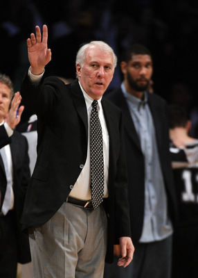 LOS ANGELES, CA - APRIL 12:  Head Coach Gregg Popovich of the San Antonio Spurs reacts from the bench during a 102-93 Los Angeles Lakers win at Staples Center on April 12, 2011 in Los Angeles, California.  NOTE TO USER: User expressly acknowledges and agr