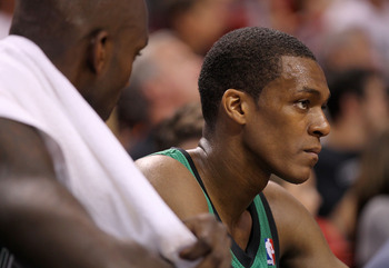 MIAMI, FL - APRIL 10:  Rajon Rondo #9  of the Boston Celtics looks on during a game against the Miami Heat  at American Airlines Arena on April 10, 2011 in Miami, Florida. NOTE TO USER: User expressly acknowledges and agrees that, by downloading and/or us