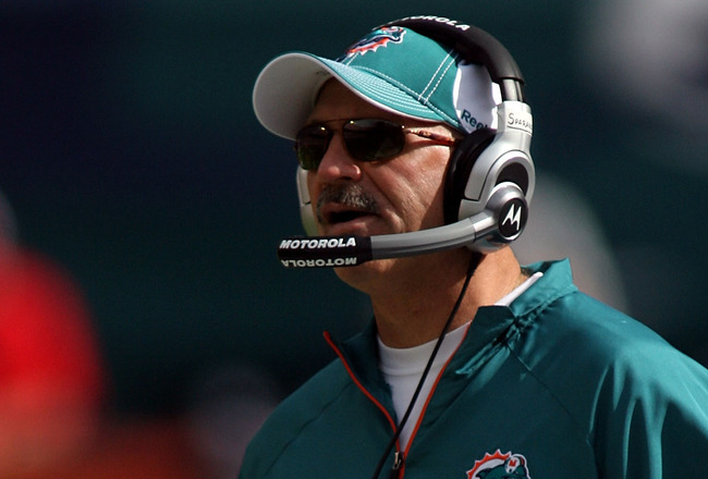 MIAMI - DECEMBER 19: Coach Tony Sparano of the Miami Dolphins against the Buffalo Bills at Sun Life Stadium on December 19, 2010 in Miami, Florida. The Bills defeated the Dolphins 17-14.  (Photo by Marc Serota/Getty Images)