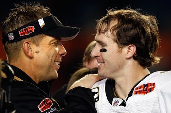 MIAMI GARDENS, FL - FEBRUARY 07:  Head coach Sean Payton of the New Orleans Saints and quarterback Drew Brees #9 celebrate after defeating the Indianapolis Colts during Super Bowl XLIV on February 7, 2010 at Sun Life Stadium in Miami Gardens, Florida.  (P