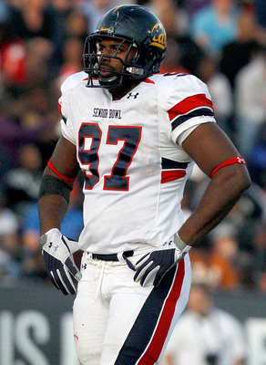 MOBILE, AL - JANUARY 29:Defensive lineman Cameron Jordan #97 of the North Team during  the Under Armour Senior Bowl on January 29, 2011 at Ladd-Pebbles Stadium in Mobile, Alabama. (Photo by Sean Gardner/Getty Images for Under Armour)