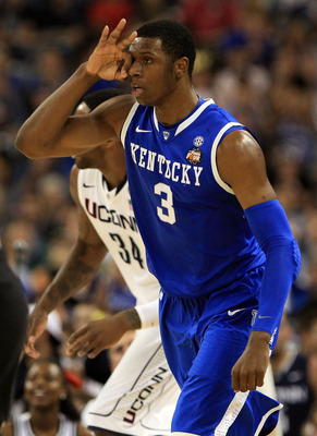 HOUSTON, TX - APRIL 02:  Terrence Jones #3 of the Kentucky Wildcats reacts after hitting a three pointer against the Connecticut Huskies during the National Semifinal game of the 2011 NCAA Division I Men's Basketball Championship at Reliant Stadium on Apr