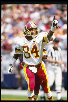 13 Sep 1992:  Wide receiver Gary Clark of the Washington Redskins celebrates during a game against the Atlanta Falcons at RFK Stadium in Washington, D. C.  The Redskins won the game, 24-17. Mandatory Credit: Rick Stewart  /Allsport
