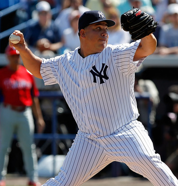 TAMPA, FL - FEBRUARY 26:  Pitcher Bartolo Colon #40 of the New York Yankees pitches against the Philadelphia Phillies during a Grapefruit League Spring Training Game at George M. Steinbrenner Field on February 26, 2011 in Tampa, Florida.  (Photo by J. Mer
