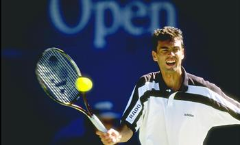 17 Jan 1997:  Sergei Bruguera of Spain in action during the Australian open at Flinders Park in Melbourne, Australia. \ Mandatory Credit: Clive Brunskill /Allsport