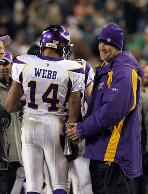 PHILADELPHIA, PA - DECEMBER 28: Injured Quarterback Brett Favre (R) #4 congratulates Joe Webb #14 of the Minnesota Vikings after scoring a touchdown against the Philadelphia Eagles at Lincoln Financial Field on December 28, 2010 in Philadelphia, Pennsylva
