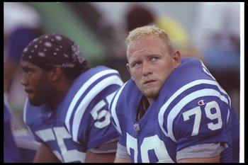13 Sep 1992:  Defensive lineman Steve Emtman of the Indianapolis Colts looks on during a game against the Houston Oilers at the RCA Dome in Indianapolis, Indiana.  The Oilers won the game, 20-10. Mandatory Credit: Gary Mook  /Allsport
