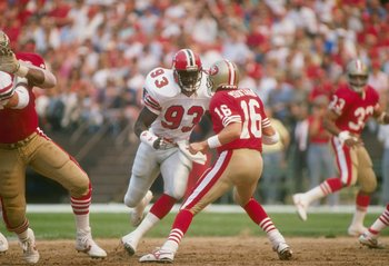 18 Sep 1988: Linebacker Aundray Bruce of the Atlanta Falcons in action during a game against the San Francisco 49ers at Candlestick Park in San Francisco, California. The Falcons won the game 34-17.