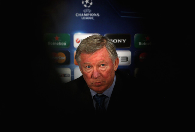 MANCHESTER, ENGLAND - APRIL 11:  Sir Alex Ferguson the manager of Manchester United faces the media during a press conference ahead of their UEFA Champions League quarter final second leg match against Chelsea at the Old Trafford on April 11, 2011 in Manc