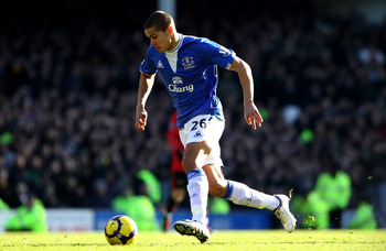 LIVERPOOL, ENGLAND - FEBRUARY 20:  Jack Rodwell of Everton runs in to score his team's third goal during the Barclays Premier League match between Everton and Manchester United at Goodison Park on February 20, 2010 in Liverpool, England.  (Photo by Clive