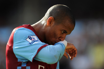 BIRMINGHAM, ENGLAND - APRIL 10:  Ashley Young of Aston Villa is thoughtful during the Barclays Premier League match between Aston Villa and Newcastle United at Villa Park on April 10, 2011 Birmingham, England.  (Photo by Michael Regan/Getty Images)
