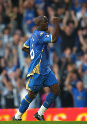 PORTSMOUTH, UNITED KINGDOM - SEPTEMBER 18:  Lassana Diarra of Portsmouth celebrates scoring the first goal for Portsmouth during the UEFA Cup round one first leg match between Portsmouth and Guimaraes at Fratton Park on September 18, 2008 in Portsmouth, E