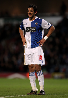 BLACKBURN, ENGLAND - JANUARY 23:  Roque Santa Cruz of Blackburn Rovers looks on during the Barclays Premier League match between Blackburn Rovers and West Bromwich Albion at Ewood Park on January 23, 2011 in Blackburn, England.  (Photo by Alex Livesey/Get