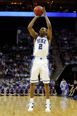 CHARLOTTE, NC - MARCH 20:  Nolan Smith #2 of the Duke Blue Devils shoots the ball while taking on the Michigan Wolverines during the third round of the 2011 NCAA men's basketball tournament at Time Warner Cable Arena on March 20, 2011 in Charlotte, North