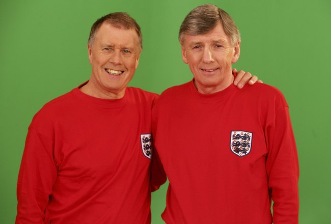LONDON - APRIL 28:  (UK TABLOID NEWSPAPERS OUT)  Members of the 1966 England World Cup team Sir Geoff Hurst (L) and Martin Peters are filmed for the video to accompany an England World Cup song 'Who Do You Think You Are Kidding, Jurgen Klinsmann' at Camde
