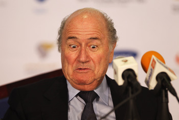 MUSCAT, OMAN - DECEMBER 09:  President of FIFA, Jospeh Sepp Blatter attends a press conference with the Oman Football Association at the Main Press Centre, Al-Musannah Sports City on December 9, 2010 in Muscat, Oman.  (Photo by Bryn Lennon/Getty Images)