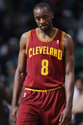 BOSTON, MA - JANUARY 25:  Christian Eyenga #8 of the of the Cleveland Cavaliers reacts after the loss to the Boston Celtics on January 25, 2011 at the TD Garden in Boston, Massachusetts. This would be the 18th straight loss for the Cavaliers this season.