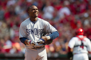 ST. LOUIS, MO - MARCH 31: Orlando Hudson #1 of the San Diego Padres reacts to striking out against the St. Louis Cardinals on opening day at Busch Stadium on March 31, 2011 in St. Louis, Missouri.  (Photo by Dilip Vishwanat/Getty Images)