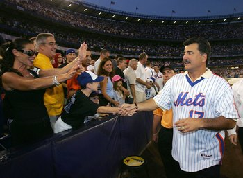 NEW YORK - AUGUST 19:  Keith Hernandez a member of the 1986 New York Mets greets fans after a tribute to mark the 20th Anniversary of their World Series win, before the New York Mets played the Colorado Rockies at Shea Stadium August 19, 2006 in the Queen