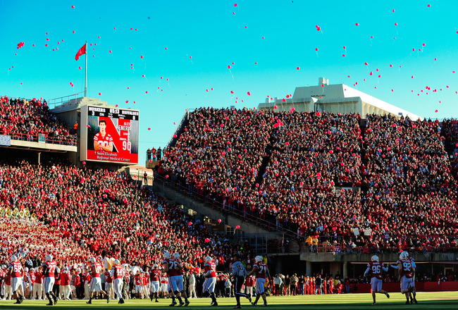 LINCOLN, NE - NOVEMBER 26: A release of balloons into the November sky celebrates Nebrask'a first touchdown of the game against the Colorado Buffaloes during their game at Memorial Stadium on November 26, 2010 in Lincoln, Nebraska. Nebraska defeated Color