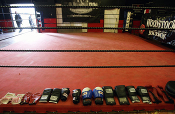 AUCKLAND, NEW ZEALAND - AUGUST 11:  David Tua's gloves line the boxing ring before a training session at his gym on August 11, 2009 in Auckland, New Zealand.  (Photo by Sandra Mu/Getty Images)