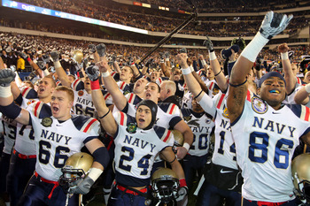 PHILADELPHIA - DECEMBER 11: The Navy Midshipmen celebrate their victory after a game against the Army Black Knights on December 11, 2010 at Lincoln Financial Field in Philadelphia, Pennsylvania. The Midshipmen won 31-17. (Photo by Hunter Martin/Getty Imag
