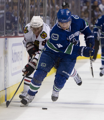 VANCOUVER, CANADA - APRIL 15: Marian Hossa #81 of the Chicago Blackhawks chases Cody Hodgson #39 of the Vancouver Canucks during the second period in Game Two of the Western Conference Quarterfinals during the 2011 NHL Stanley Cup Playoffs on April 15, 20