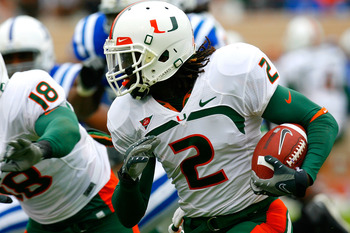 DURHAM, NC - OCTOBER 18:  Running back Graig Cooper #2 of the Miami Hurricanes rushes upfield against the Duke Blue Devils during the game at Wallace Wade Stadium on October 18, 2008 in Durham, North Carolina.  (Photo by Kevin C. Cox/Getty Images)